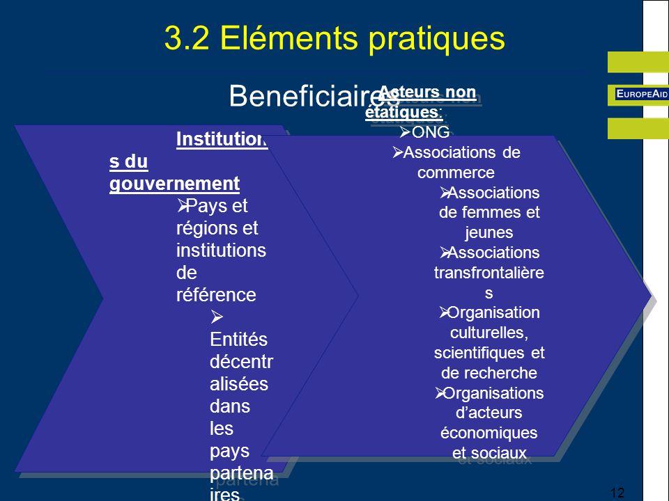 3.2 Eléments pratiques Beneficiaires Acteurs non étatiques: