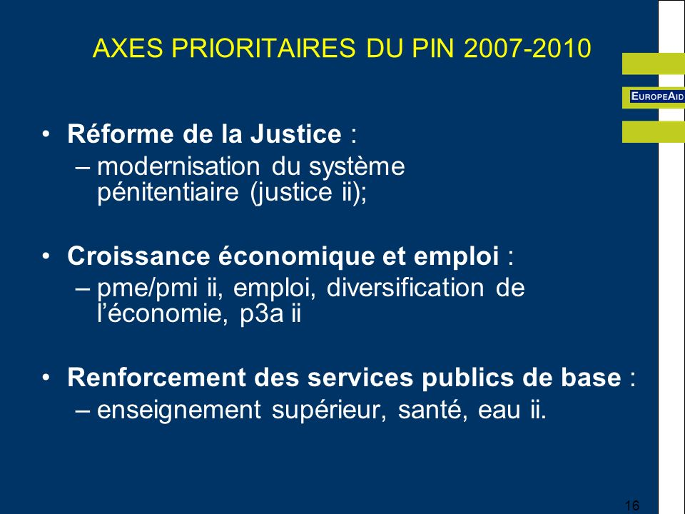 AXES PRIORITAIRES DU PIN 2007-2010