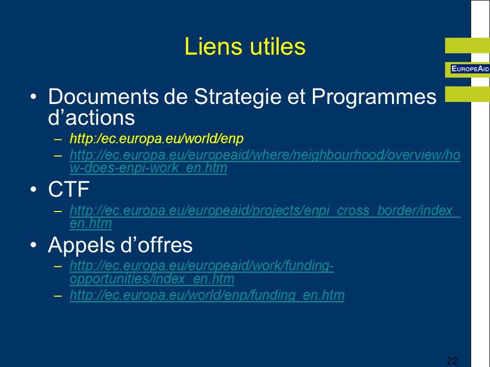 Liens utiles Documents de Strategie et Programmes d'actions CTF