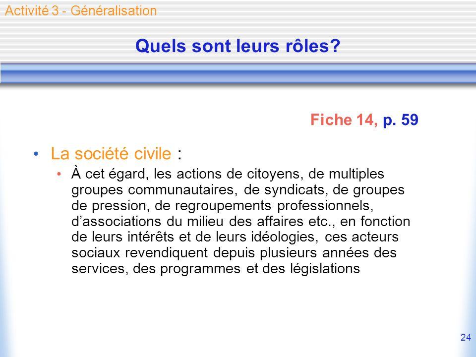 Quels sont leurs rôles La société civile : Fiche 14, p. 59