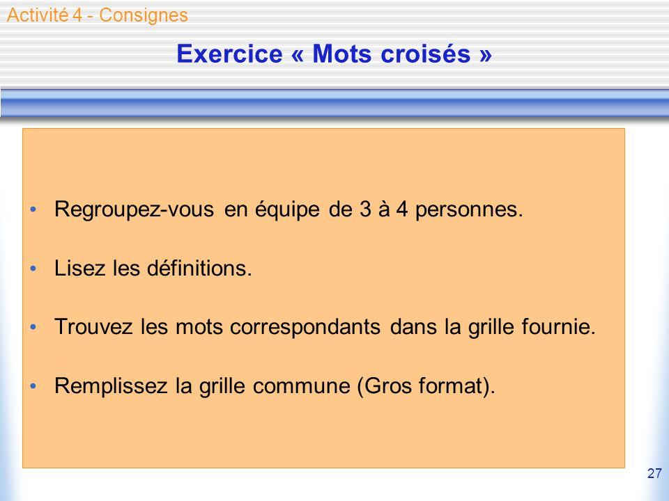 Exercice « Mots croisés »