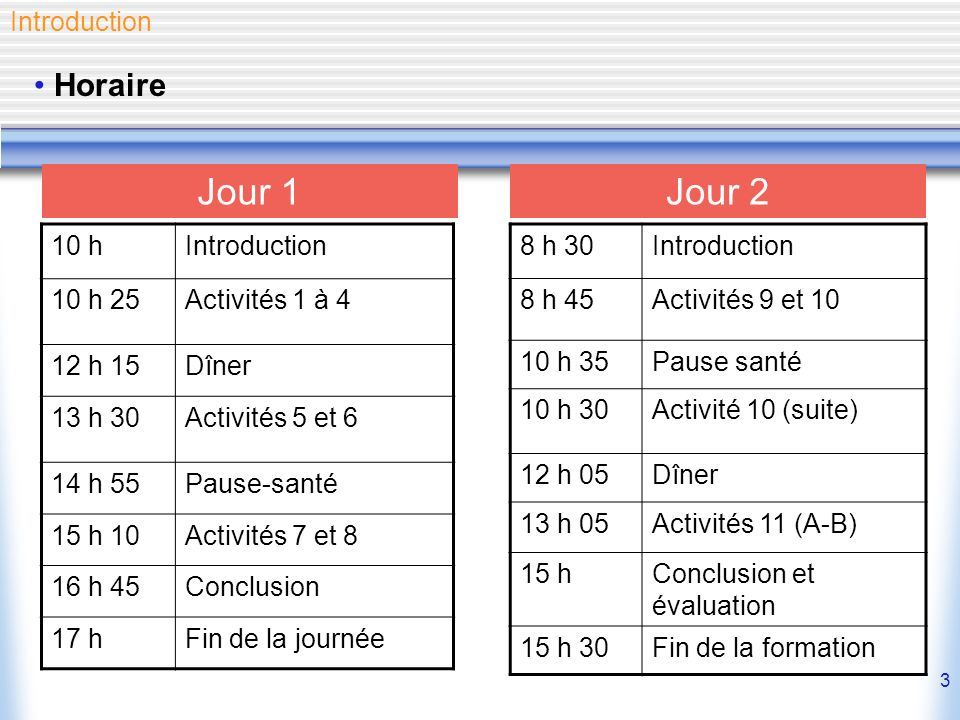 Jour 1 Jour 2 Horaire Introduction 10 h Introduction 10 h 25