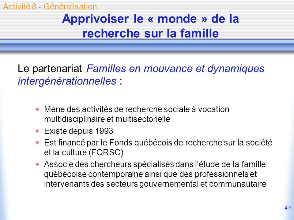Apprivoiser le « monde » de la recherche sur la famille