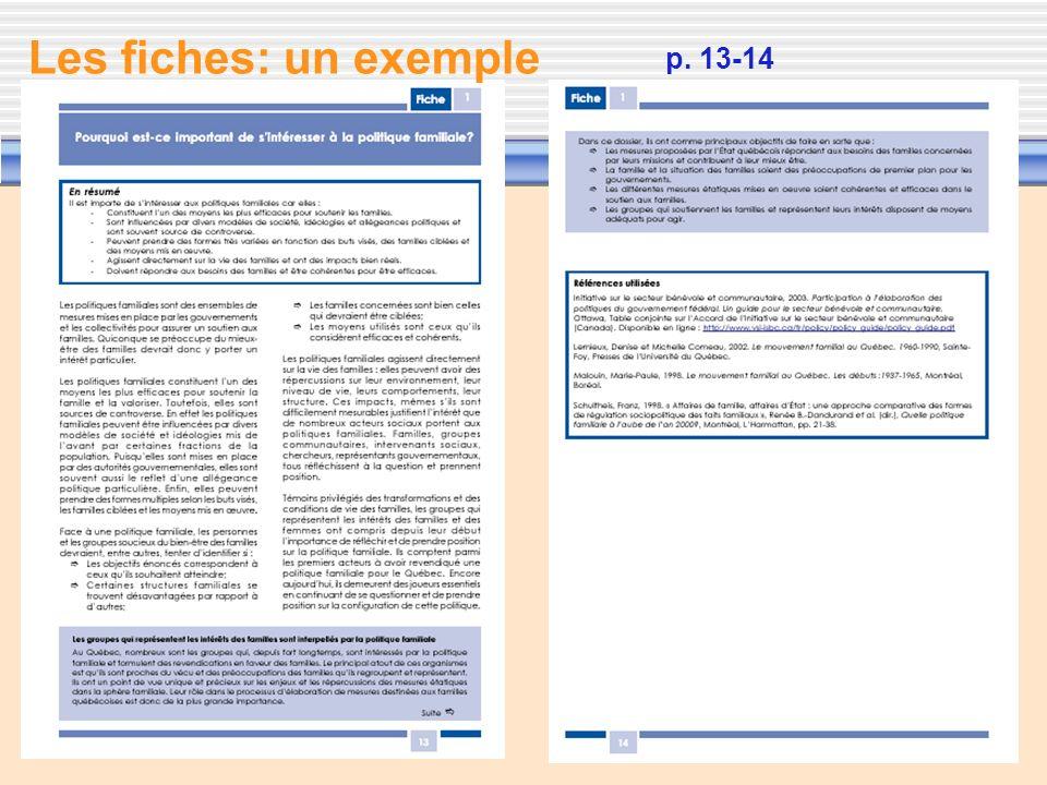 Les fiches: un exemple p. 13-14 Dans chaque fiche, on trouve :
