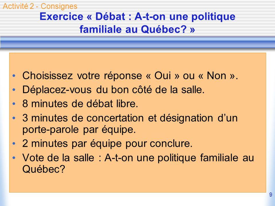 Exercice « Débat : A-t-on une politique familiale au Québec »