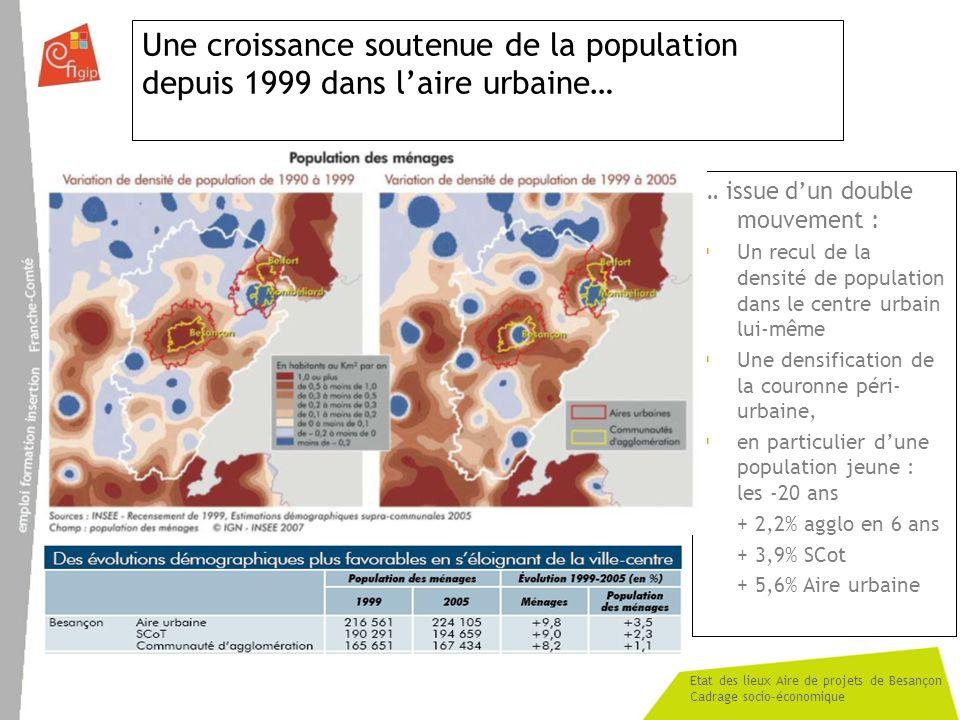 Une croissance soutenue de la population depuis 1999 dans l'aire urbaine…