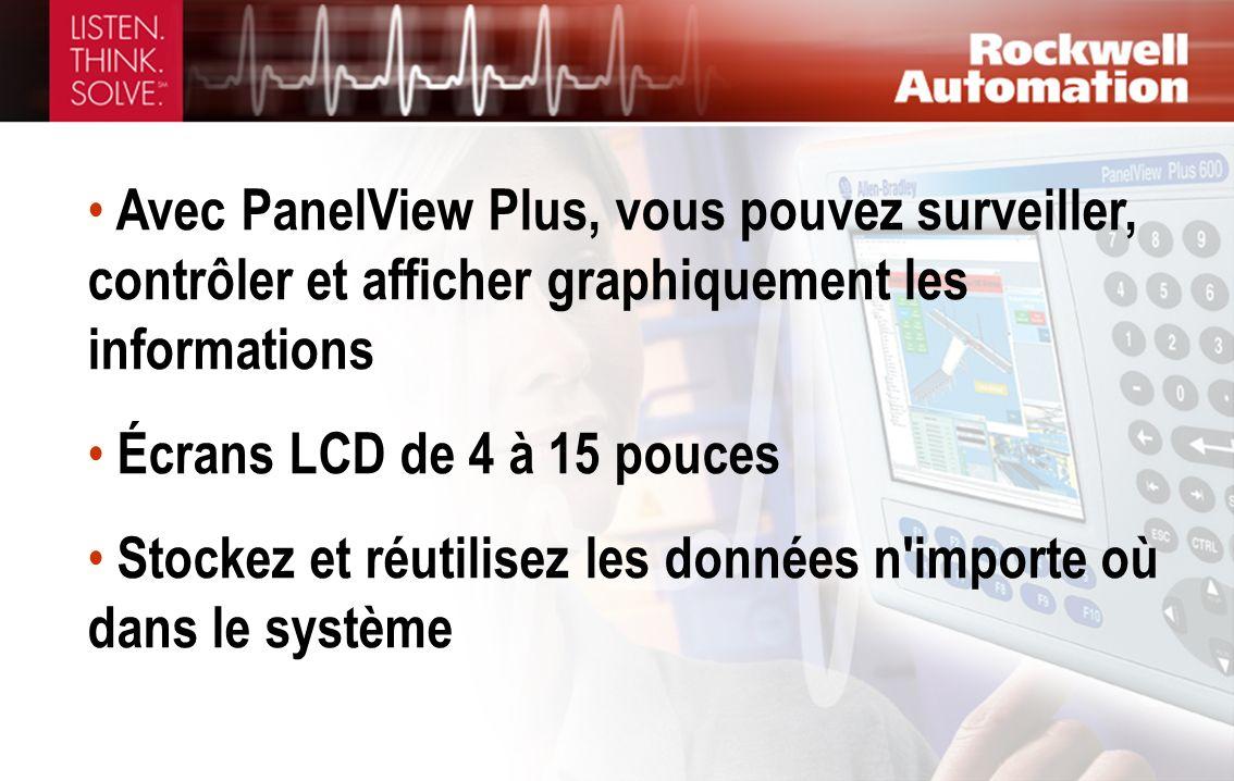 Avec PanelView Plus, vous pouvez surveiller, contrôler et afficher graphiquement les informations