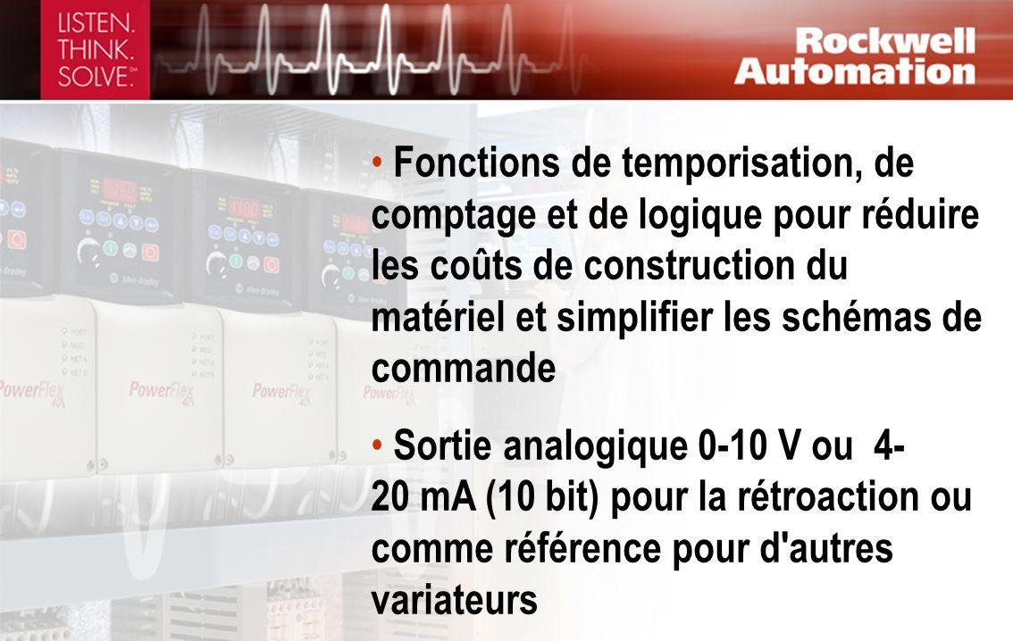 Fonctions de temporisation, de comptage et de logique pour réduire les coûts de construction du matériel et simplifier les schémas de commande