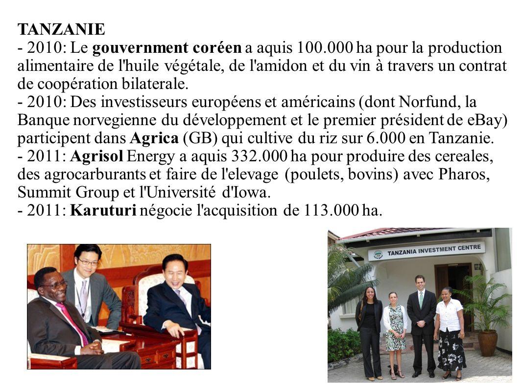 - 2011: Karuturi négocie l acquisition de 113.000 ha.