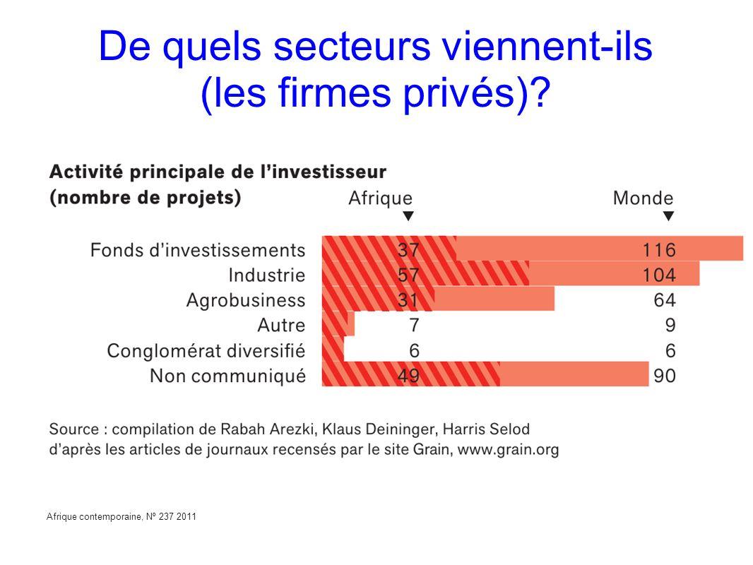 De quels secteurs viennent-ils (les firmes privés)