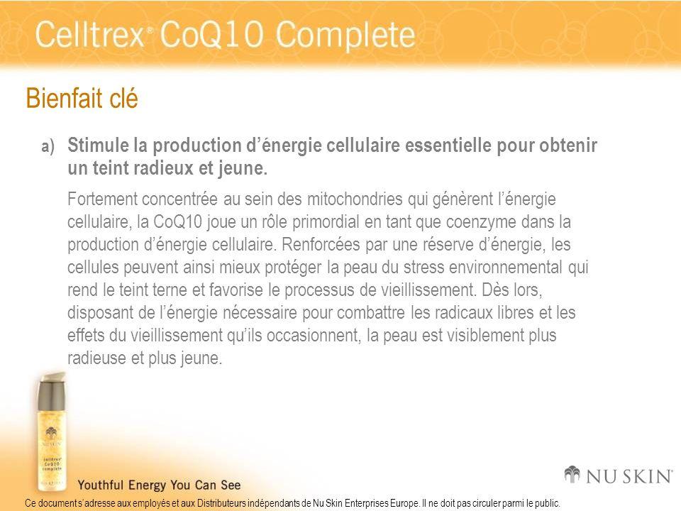 Bienfait clé Stimule la production d'énergie cellulaire essentielle pour obtenir un teint radieux et jeune.