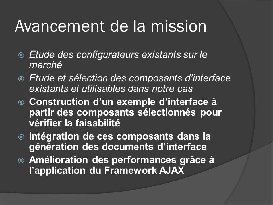 Avancement de la mission