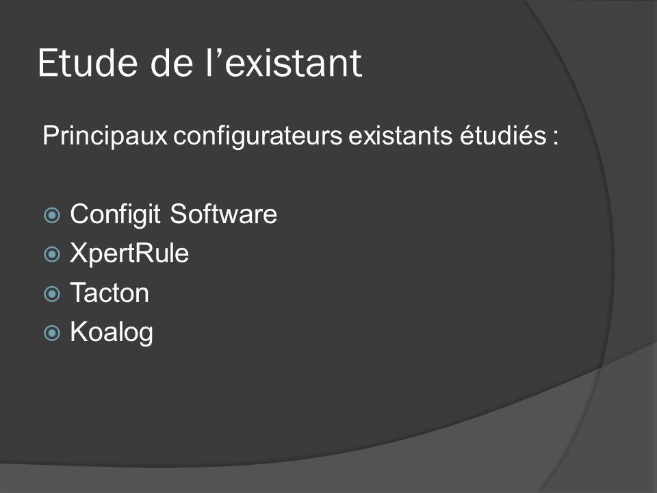 Etude de l'existant Configit Software XpertRule Tacton Koalog