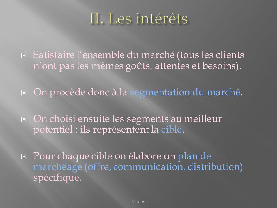 II. Les intérêts Satisfaire l'ensemble du marché (tous les clients n'ont pas les mêmes goûts, attentes et besoins).