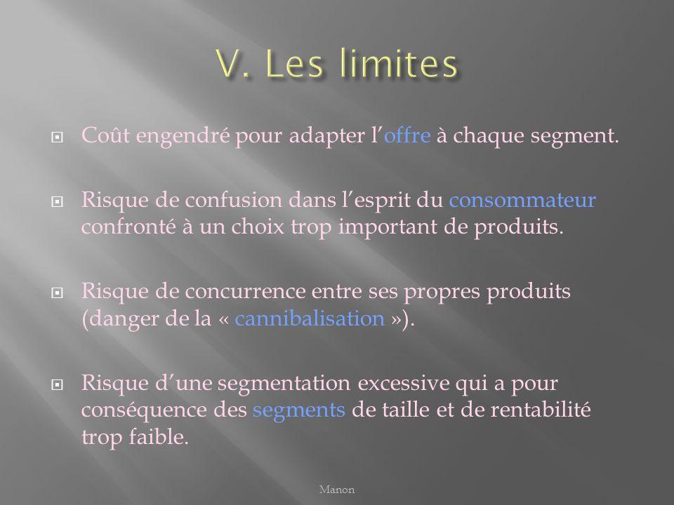 V. Les limites Coût engendré pour adapter l'offre à chaque segment.