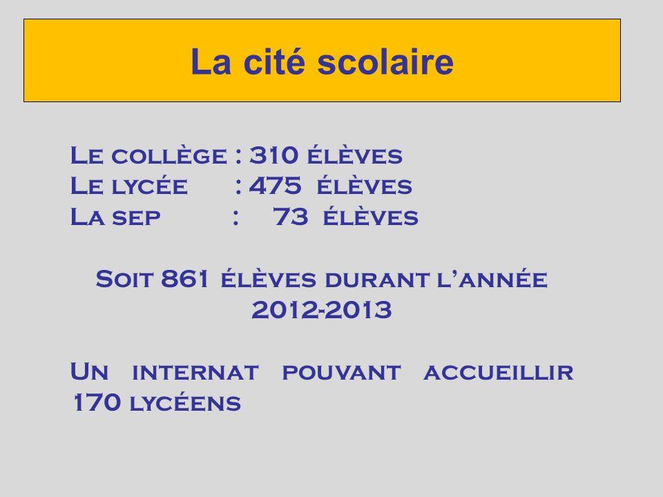 Soit 861 élèves durant l'année 2012-2013