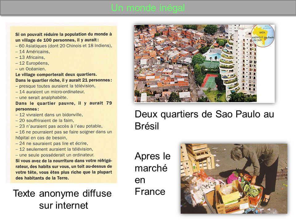 Un monde inégal Deux quartiers de Sao Paulo au Brésil. Apres le marché en France. Texte anonyme diffuse.