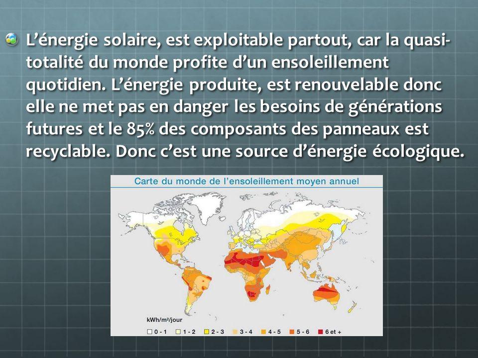 L'énergie solaire, est exploitable partout, car la quasi- totalité du monde profite d'un ensoleillement quotidien.
