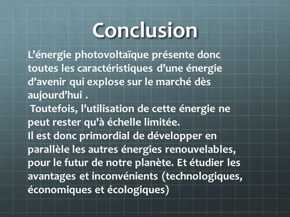 ConclusionL'énergie photovoltaïque présente donc toutes les caractéristiques d'une énergie d'avenir qui explose sur le marché dès aujourd'hui .
