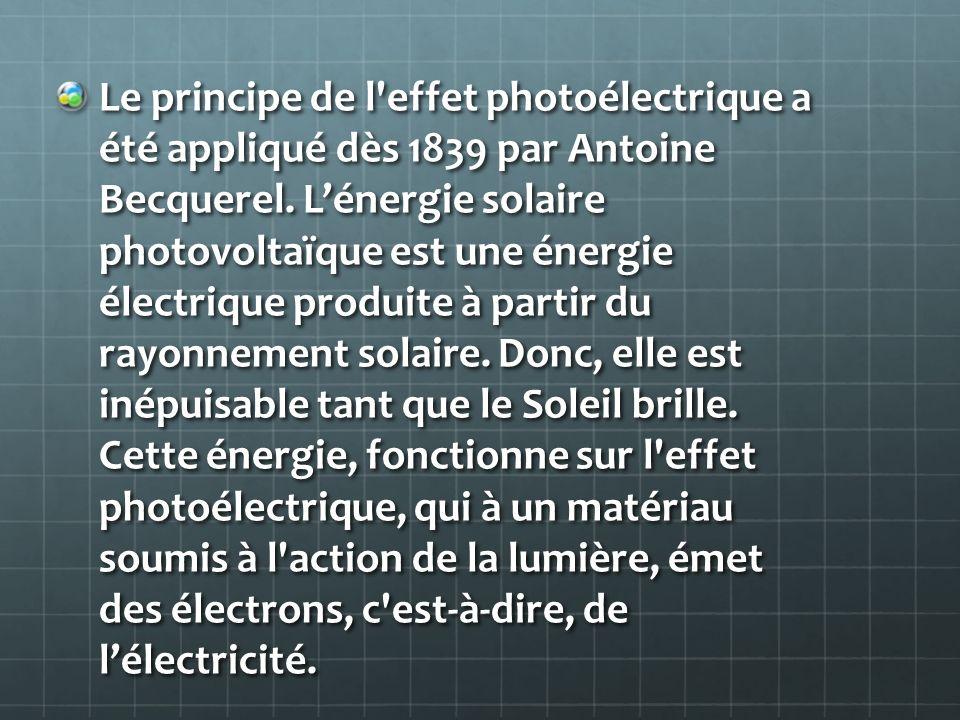 Le principe de l effet photoélectrique a été appliqué dès 1839 par Antoine Becquerel.