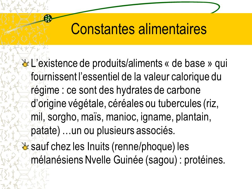 Constantes alimentaires