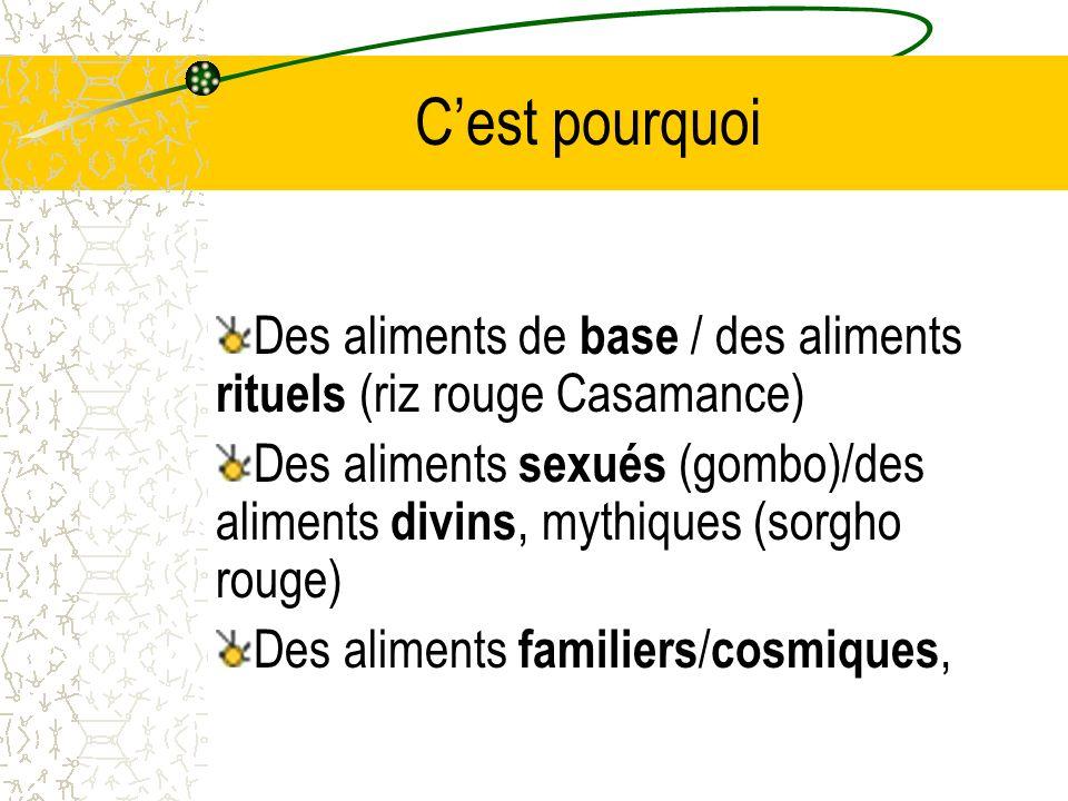 C'est pourquoi Des aliments de base / des aliments rituels (riz rouge Casamance)