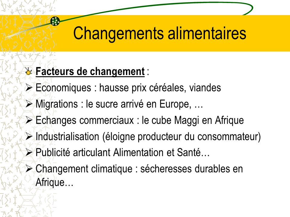 Changements alimentaires