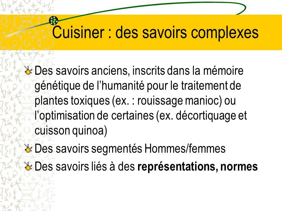 Cuisiner : des savoirs complexes