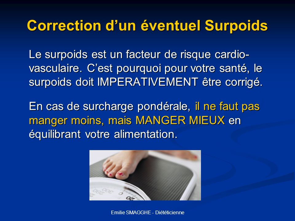 Correction d'un éventuel Surpoids