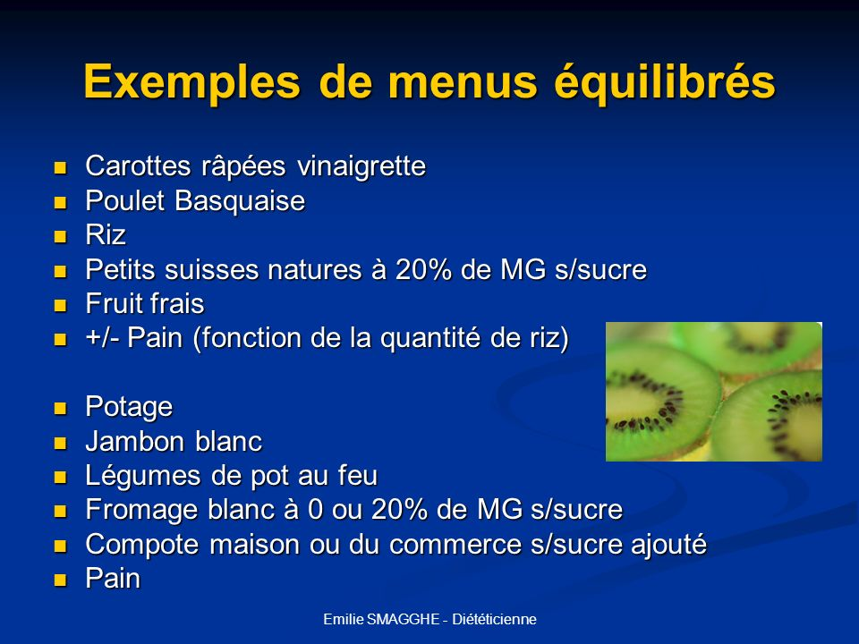 Exemples de menus équilibrés