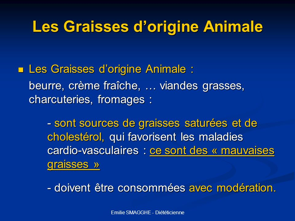 Les Graisses d'origine Animale