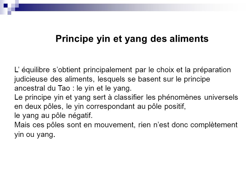 Principe yin et yang des aliments