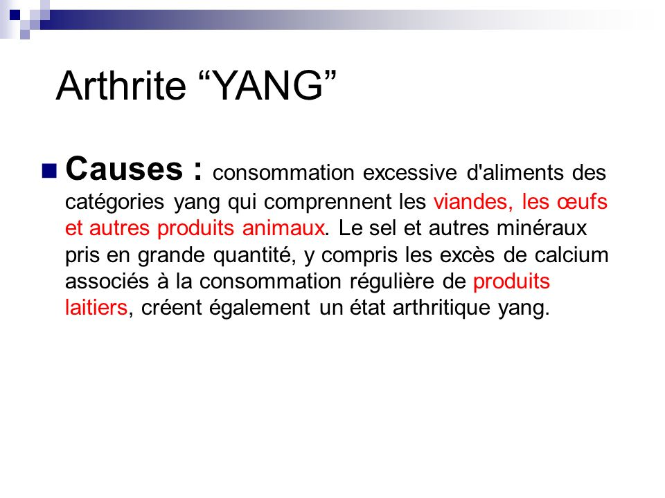 Arthrite YANG