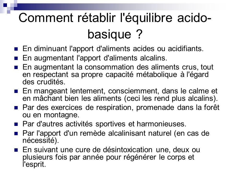 Comment rétablir l équilibre acido-basique