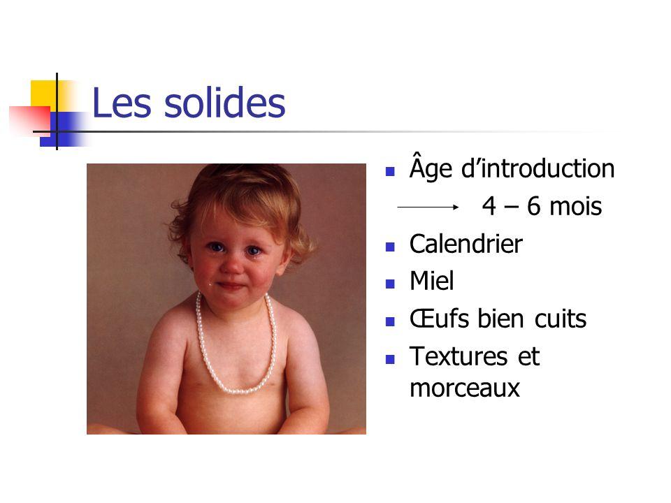 Les solides Âge d'introduction 4 – 6 mois Calendrier Miel
