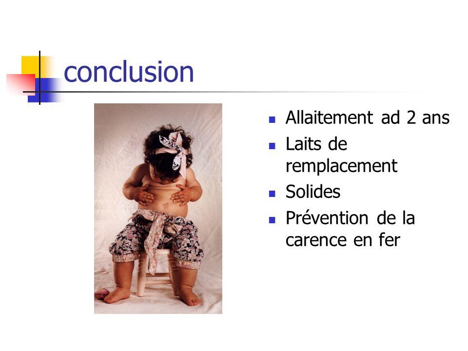 conclusion Allaitement ad 2 ans Laits de remplacement Solides