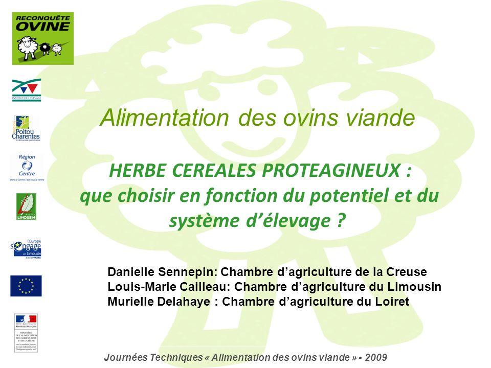 Journées Techniques « Alimentation des ovins viande » - 2009
