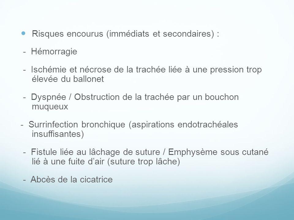 Risques encourus (immédiats et secondaires) :