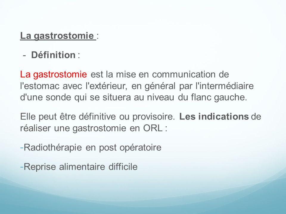 La gastrostomie : - Définition :