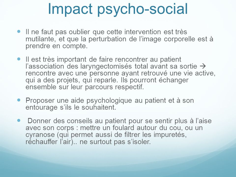 Impact psycho-social