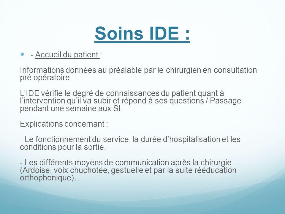 Soins IDE : - Accueil du patient :