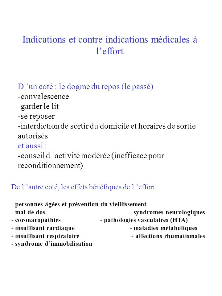 Indications et contre indications médicales à l'effort