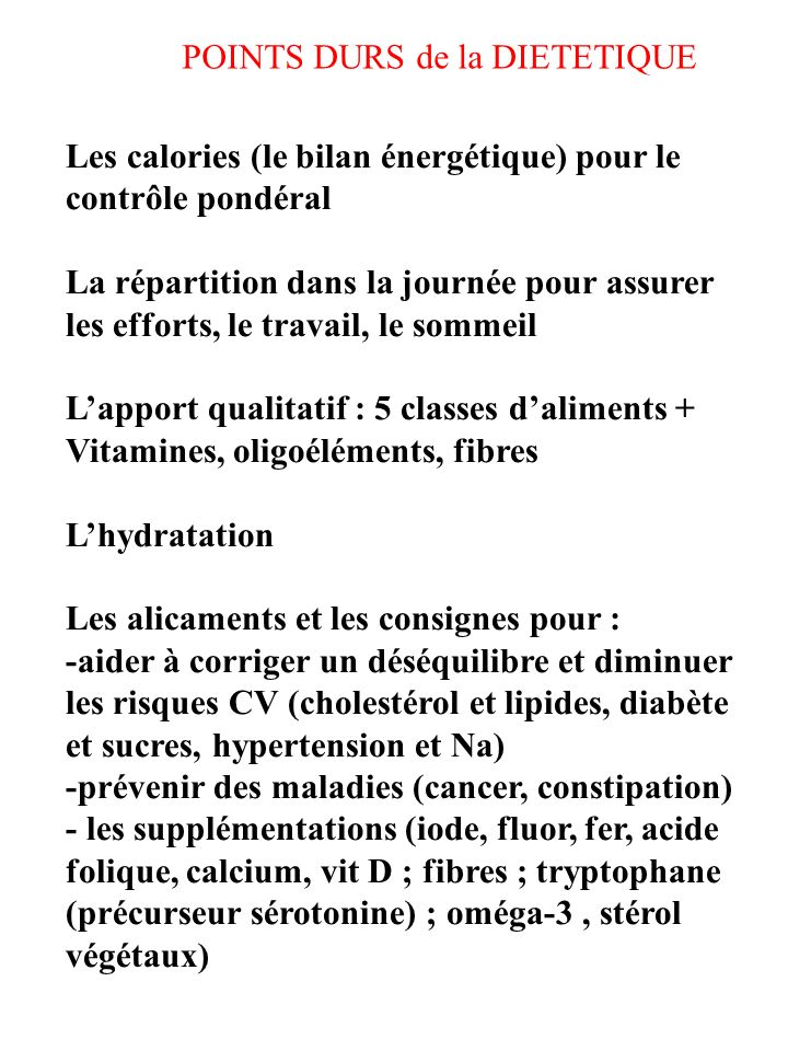 POINTS DURS de la DIETETIQUE