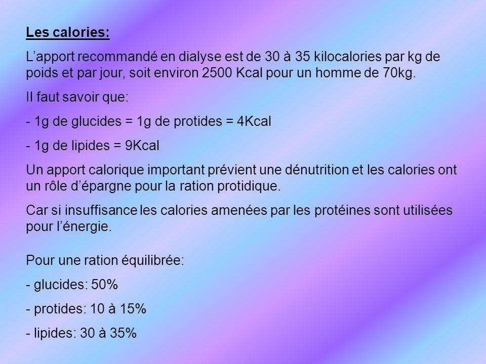 Les calories: L'apport recommandé en dialyse est de 30 à 35 kilocalories par kg de poids et par jour, soit environ 2500 Kcal pour un homme de 70kg.