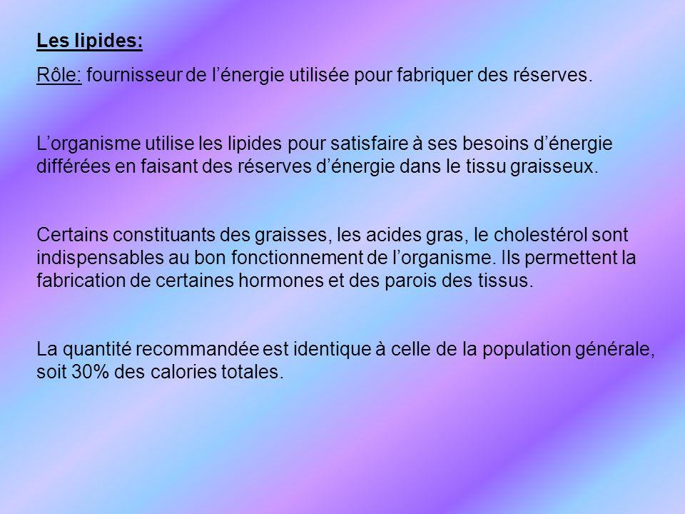 Les lipides: Rôle: fournisseur de l'énergie utilisée pour fabriquer des réserves.
