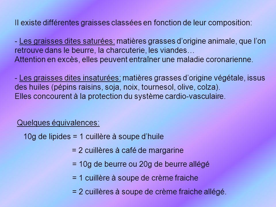 Il existe différentes graisses classées en fonction de leur composition: