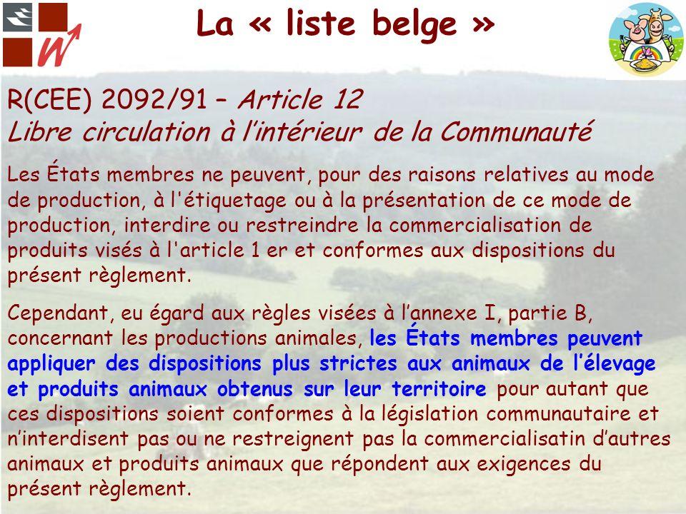 La « liste belge » R(CEE) 2092/91 – Article 12 Libre circulation à l'intérieur de la Communauté.