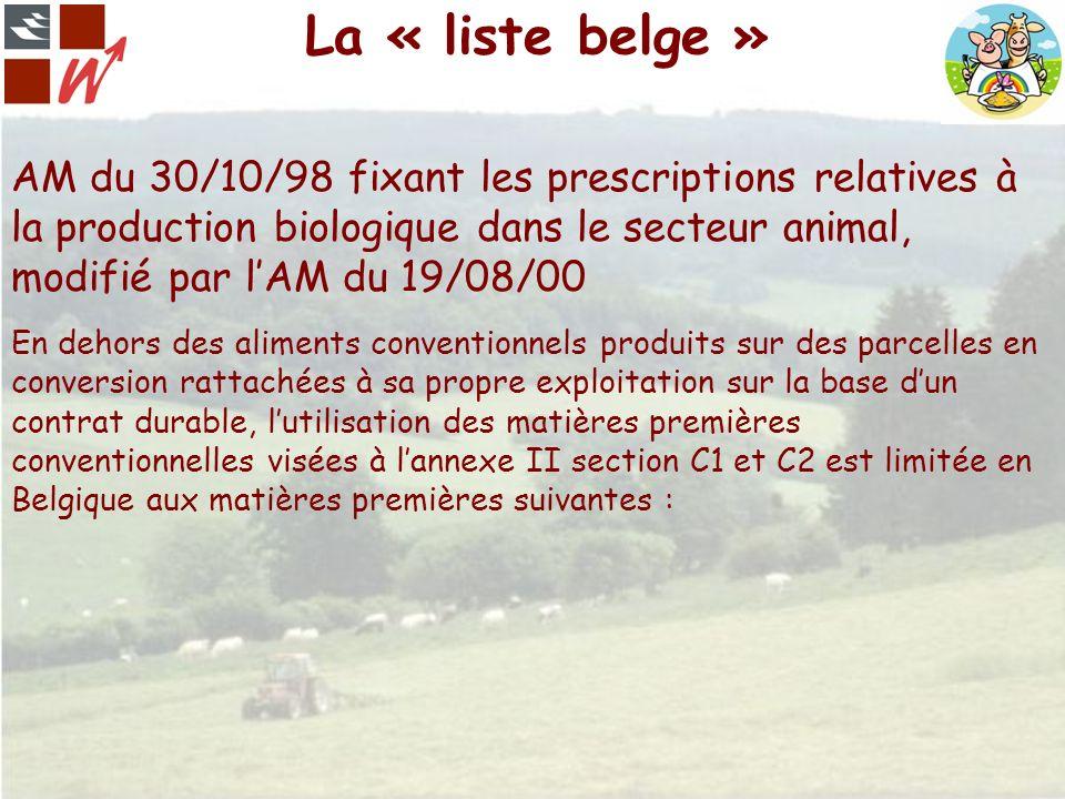 La « liste belge » AM du 30/10/98 fixant les prescriptions relatives à la production biologique dans le secteur animal, modifié par l'AM du 19/08/00.