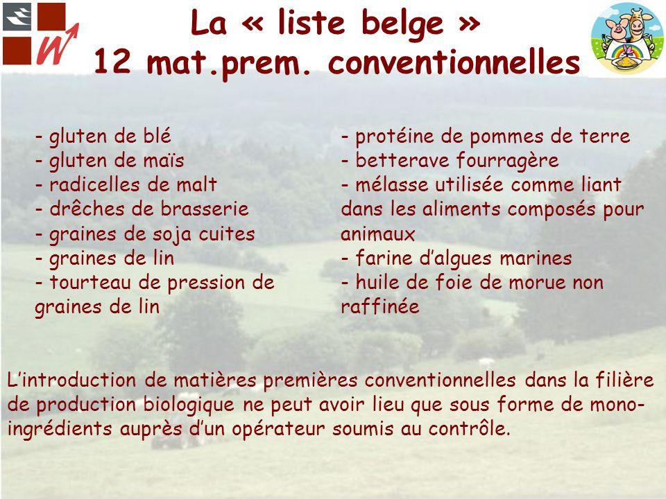 La « liste belge » 12 mat.prem. conventionnelles