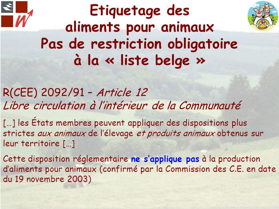 Etiquetage des aliments pour animaux Pas de restriction obligatoire à la « liste belge »